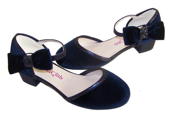 Girls dark blue velvet sparkly low heeled party shoes-5959