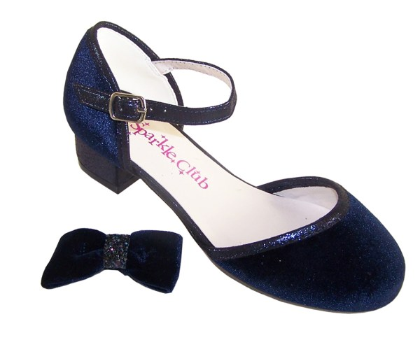 Girls dark blue velvet sparkly low heeled party shoes-5958