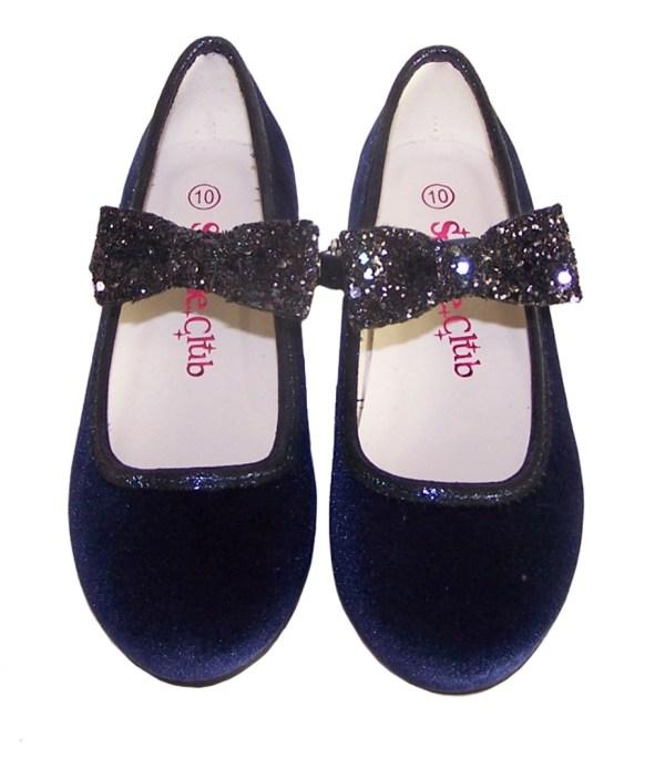 Girls dark blue velvet ballerina party shoes with matching glitter bag-5980