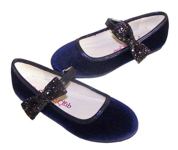 Girls dark blue sparkly velvet ballerina party shoes-5941
