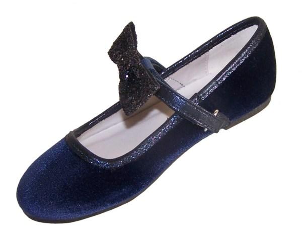 Girls dark blue sparkly velvet ballerina party shoes-5940