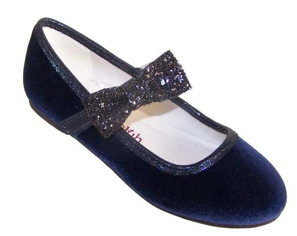 Girls dark blue velvet ballerina party shoes with matching glitter bag-5979