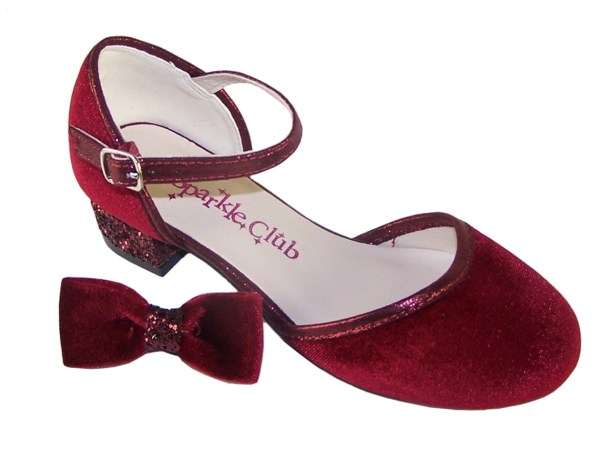 Girls deep red velvet sparkly low heeled party shoes-6080