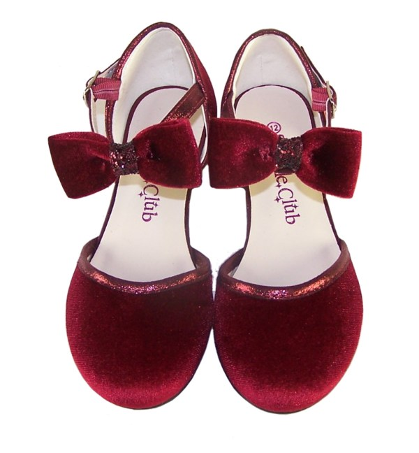 Girls deep red velvet sparkly low heeled party shoes-6078