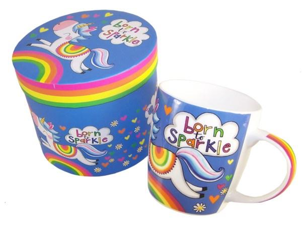 Unicorn colourful china mug in a gift box-0