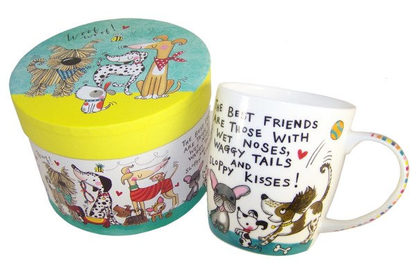 Dogs and puppies colourful china mug in a gift box-6032