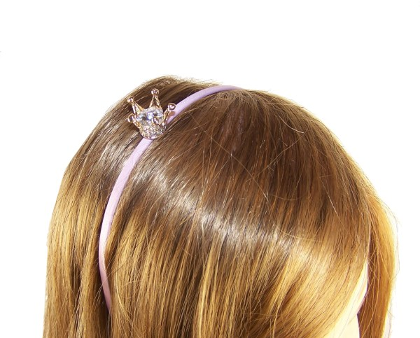 Girls pink headband with sparkly crown-6065