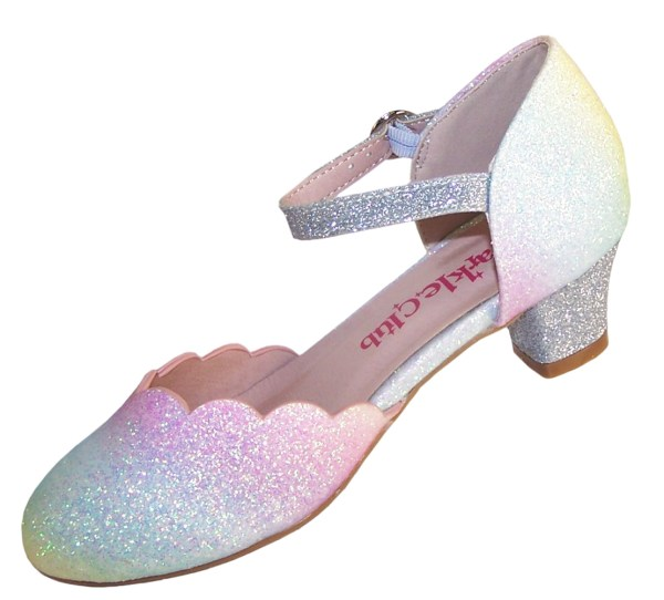 Girls pastel rainbow colours sparkly low heeled shoes -5992