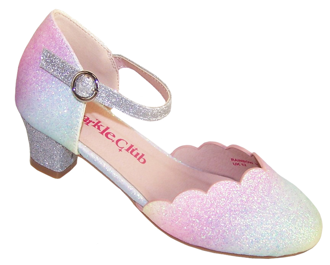 Pink Glitter Low Heeled Party Shoes