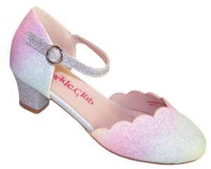Girls pastel rainbow colours sparkly low heeled shoes