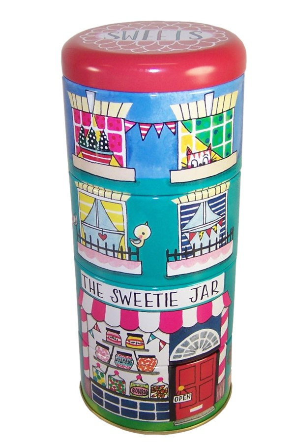 Childrens stacking sweet shop storage tins-0