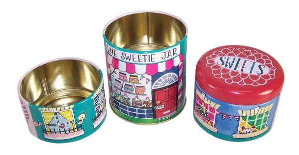 Childrens stacking sweet shop storage tins-5997