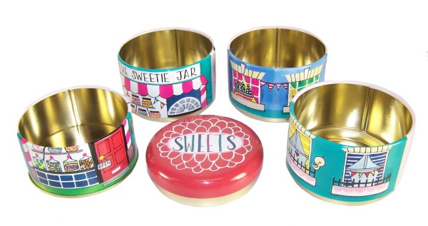 Childrens stacking sweet shop storage tins-5998