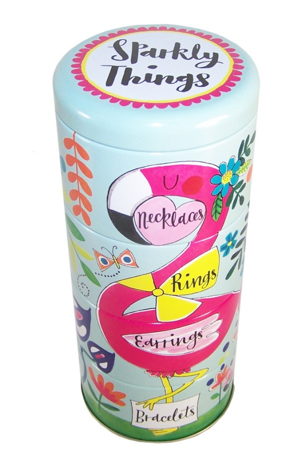 Childrens stacking flamingo sparkly things storage tins-0