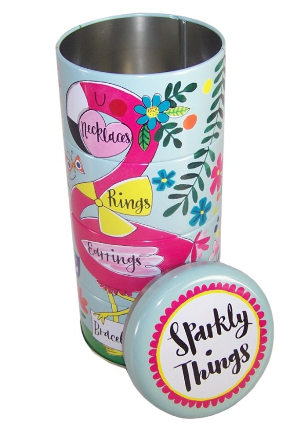 Childrens stacking flamingo sparkly things storage tins-6007