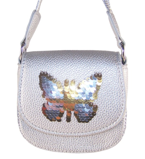 Girls silver sparkly handbag with sequin butterfly-6219