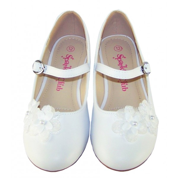 Girls white ballerina flower girl and bridesmaid shoes -6343