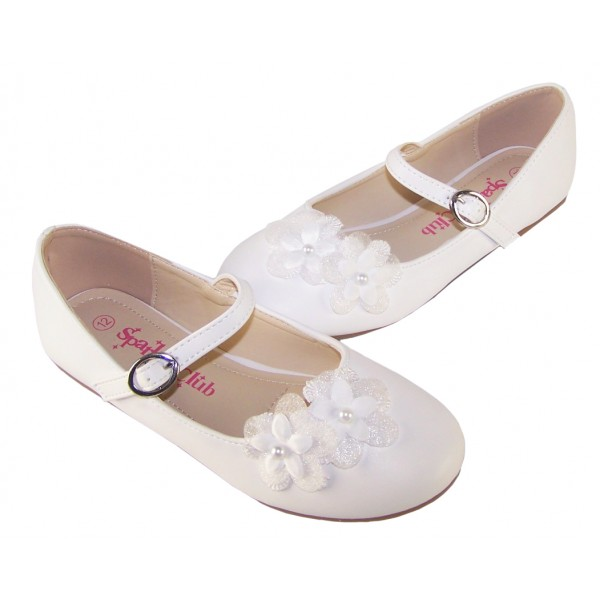 Girls white ballerina flower girl and bridesmaid shoes -6348