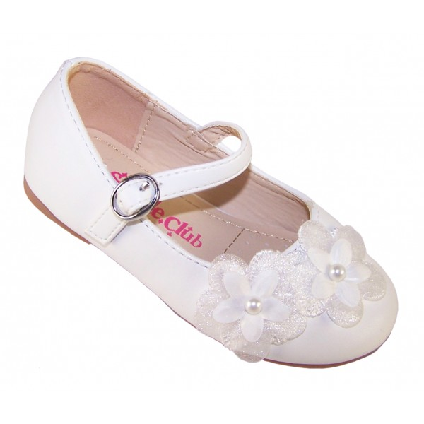 Girls white ballerina flower girl and bridesmaid shoes -6347
