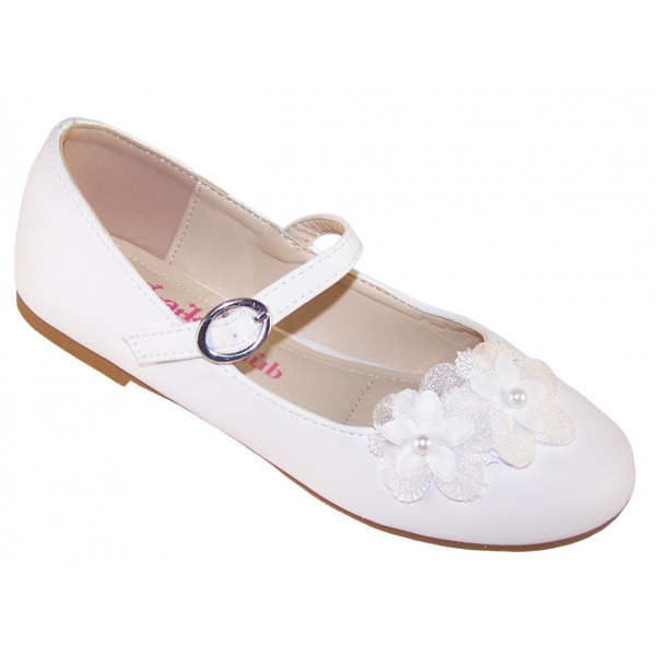 Girls white ballerina flower girl and bridesmaid shoes -0
