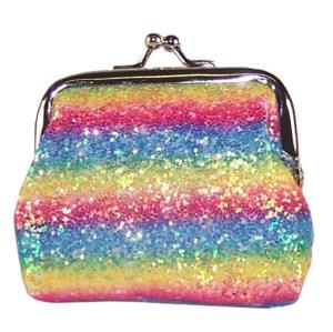 Girls sparkly rainbow glitter purse