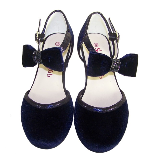 Girls dark blue velvet sparkly low heeled party shoes - Gift Set-6189