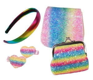 Girls sparkly rainbow glitter bag and accessories set