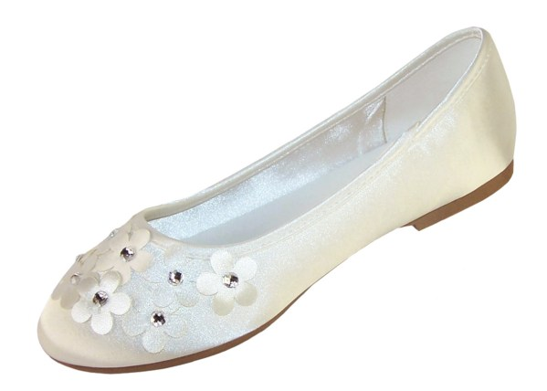 Ivory satin flower girl and bridesmaid ballerina shoes-6267