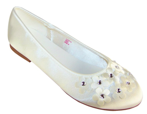 Ivory satin flower girl and bridesmaid ballerina shoes-6278