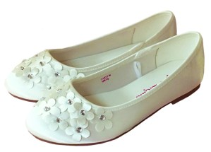 Ivory satin flower girl and bridesmaid ballerina shoes