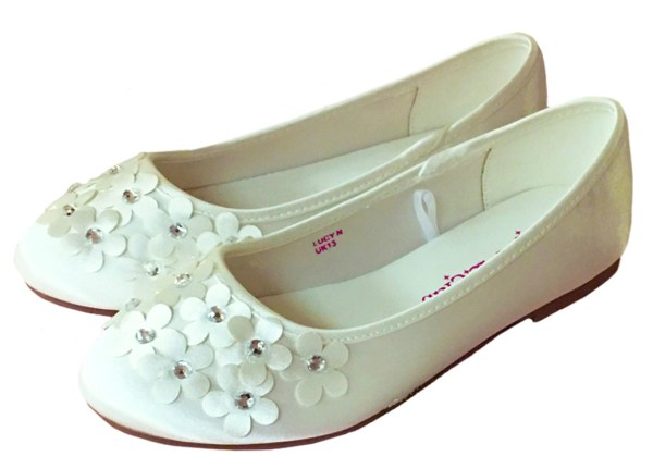 Ivory satin flower girl and bridesmaid ballerina shoes-0