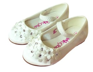 Ivory satin young flower girl and bridesmaid ballerina shoes