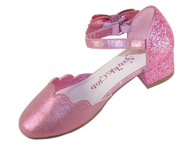 Girls pink sparkly glitter heeled party shoes-6412