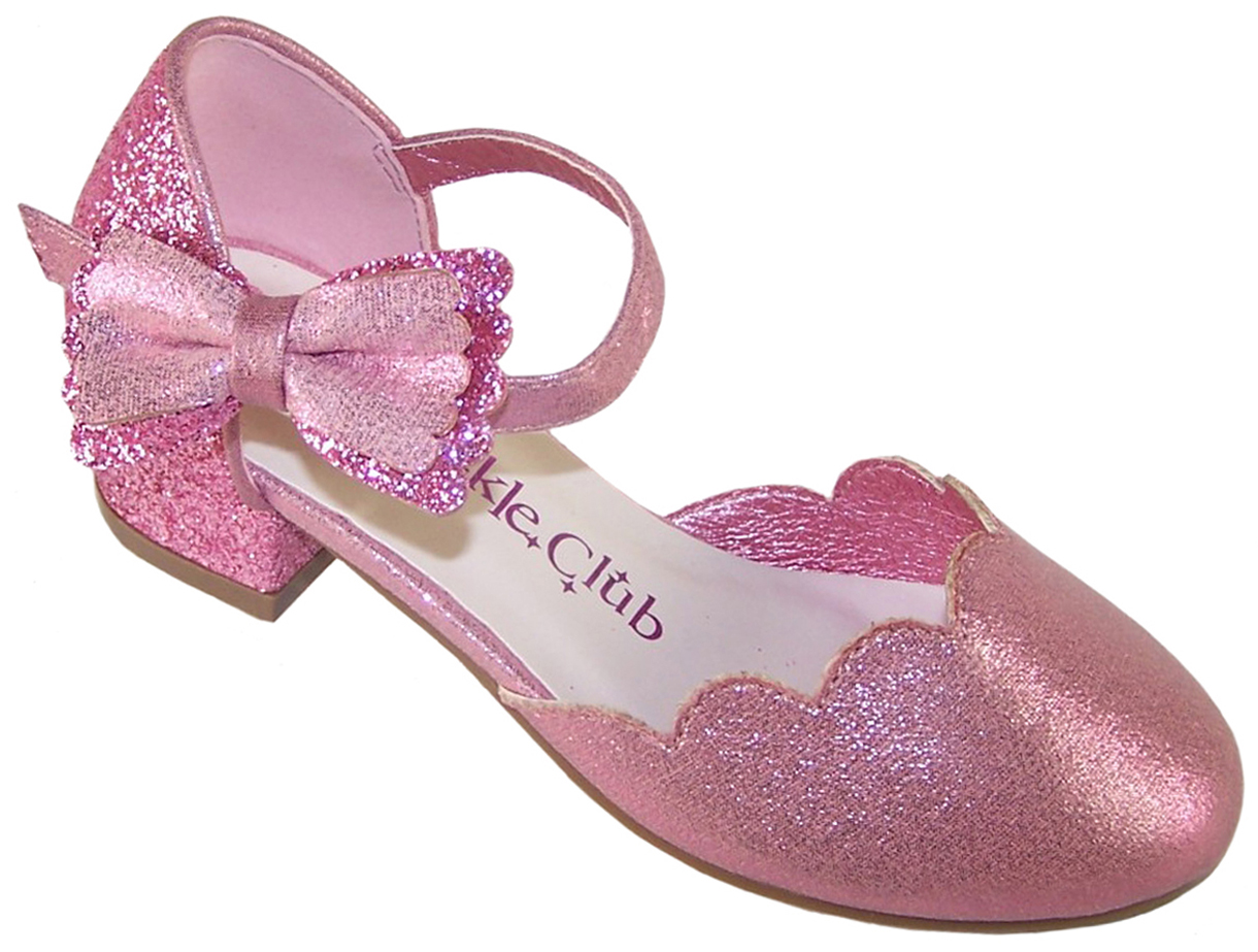 Girls pink low heeled party sparkly