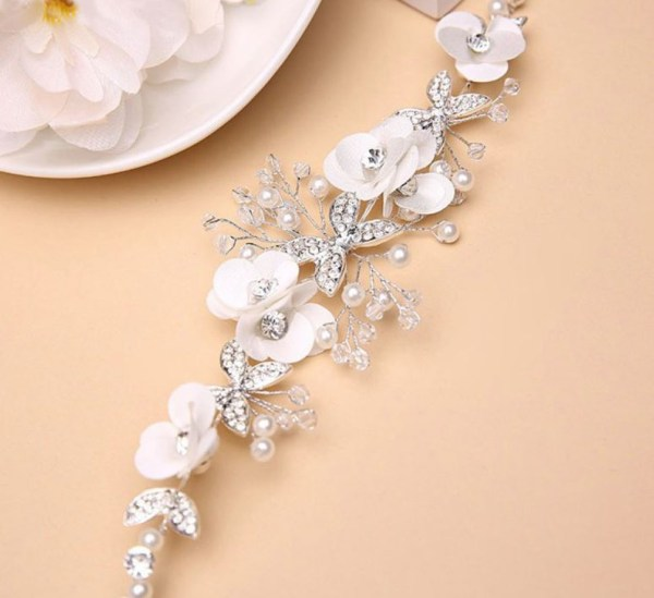 Girls white and silver sparkly headband-6392