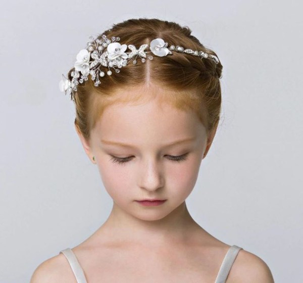 Girls white and silver sparkly headband-6389