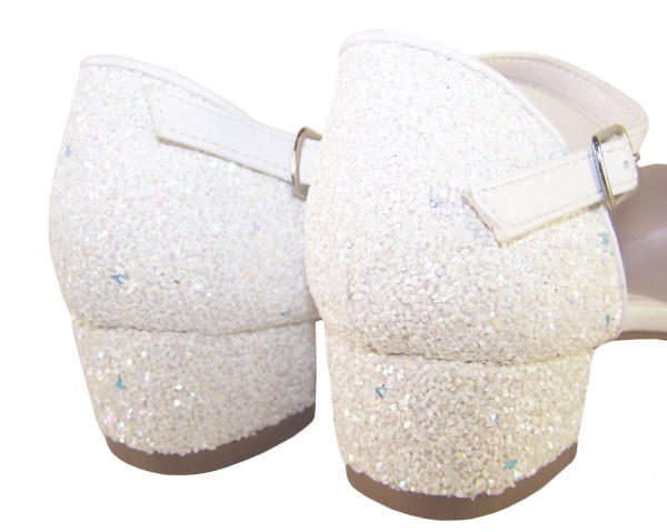Girls white low heeled sparkly bridesmaid shoes-6431