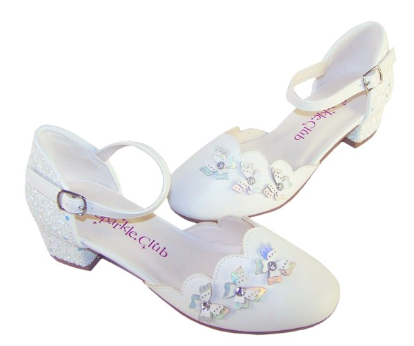 Girls white low heeled sparkly bridesmaid shoes-6423