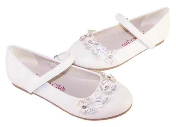 Girls white flower girl ballerinas with butterfly trims-6401