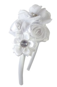 Girls white satin flower headband