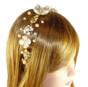 Girls ivory, peach and silver sparkly headband
