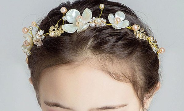 Girls ivory, peach and silver sparkly headband-6452