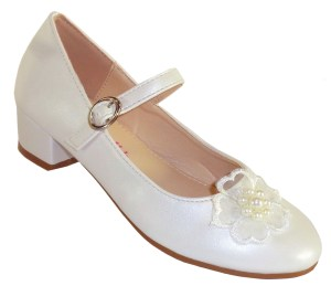 Girls ivory low heeled bridesmaid shoes with flower trim