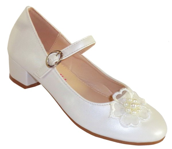Girls ivory low heeled bridesmaid shoes with flower trim-0