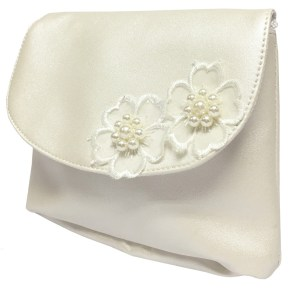 Childrens ivory handbag with flower trims