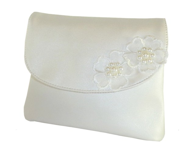 Childrens ivory handbag with flower trims-0