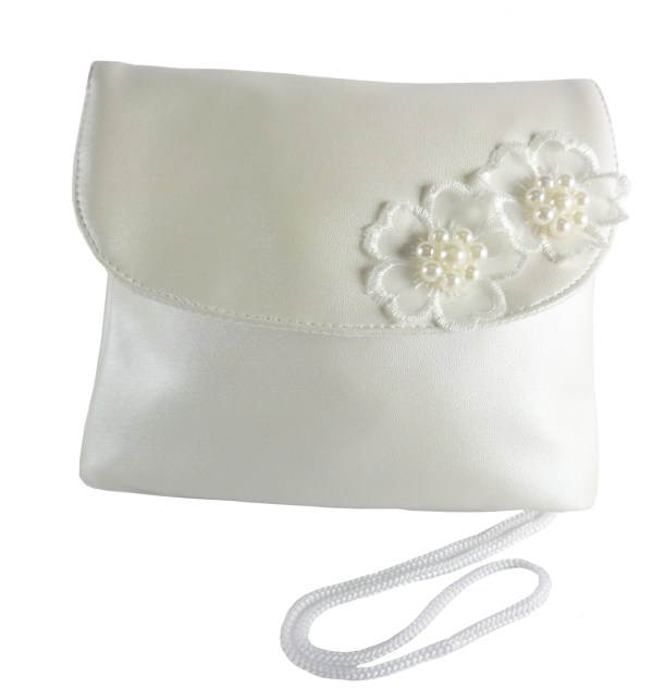 Childrens ivory handbag with flower trims-6542