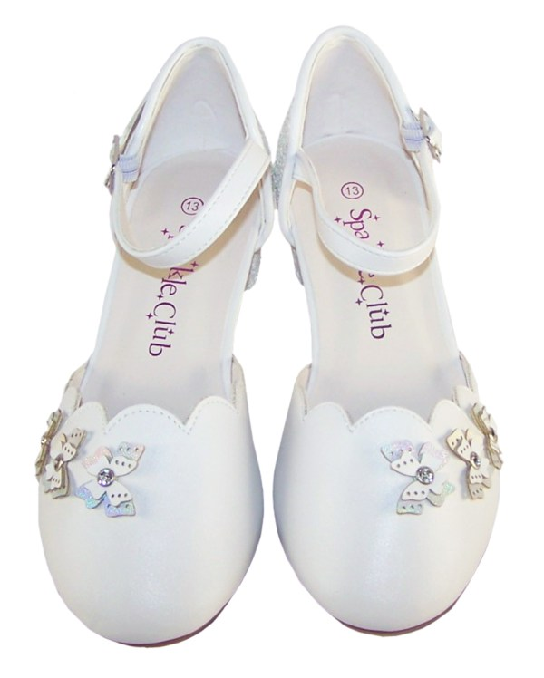 Girls white low heeled sparkly bridesmaid shoes and bag-6512