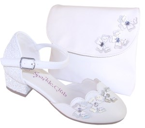 Girls white low heeled sparkly bridesmaid shoes and bag
