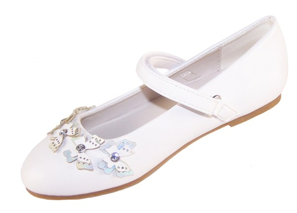 Girls white flower girl ballerinas and bag with butterfly trims-6500